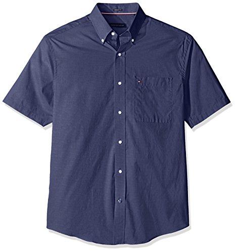 tommy-hilfiger-mens-short-sleeve-regular-fit-solid-buttondown-collar-dress-shirt-navy-165-neck