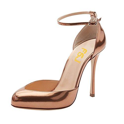 FSJ Women Fashion Almond Toe Ankle Strap D'Orsay Pumps High Heels Party Prom Sandals Size 7 Bronze ()
