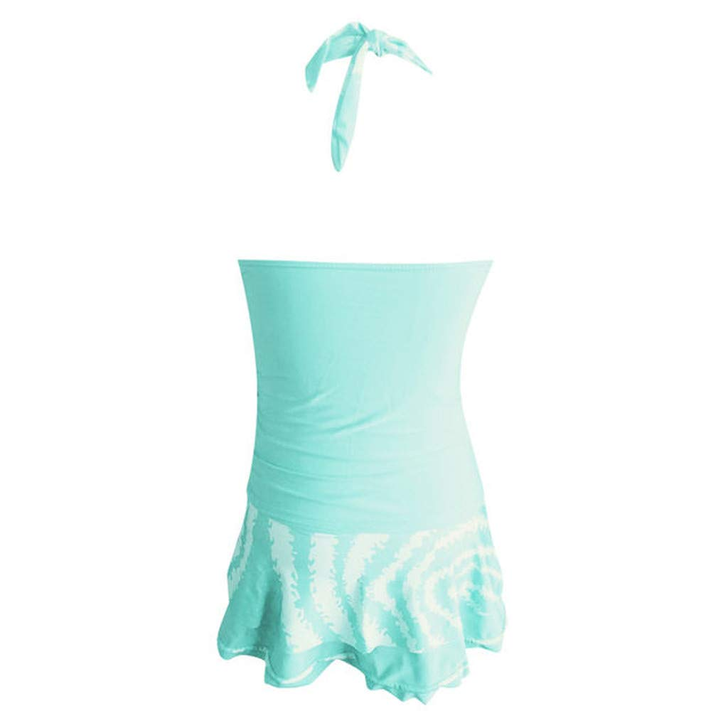 XINDEEK Womens High Waisted Swimsuit Two Pieces Tummy Control Tankini Set Ruffled Strip Beachwear