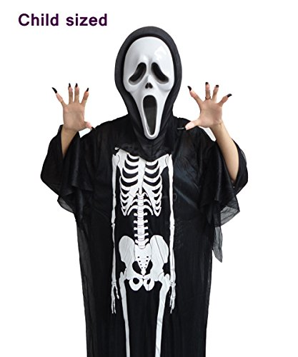 Halloween Scream Mask and Ghost Robe Costume Set, Adult, Kids (Child (Scream Ghostface Costume)