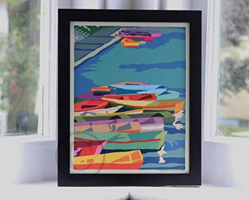 Perkins Cove Dinghies Framed Print (8x10 Lighthouse Travel Poster, Wall Decor Art) ()