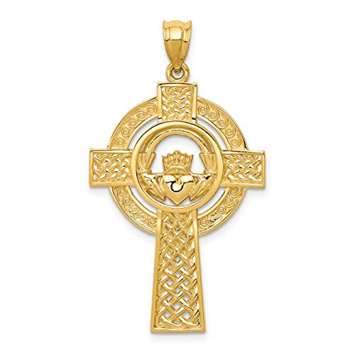 14K Yellow Gold Celtic Iona Cross With Claddagh Symbol Pendant 40x22mm