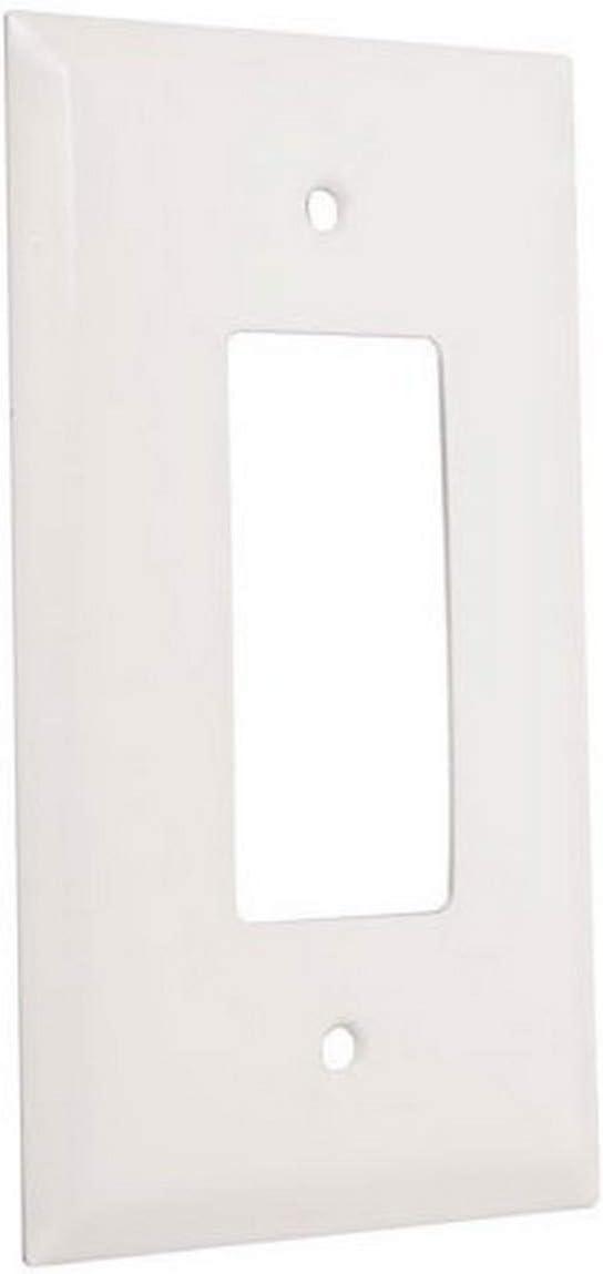 TayMac WJW-R Jumbo Metallic Wallplate with One Decorator/Rocker, Single Gang, White Smooth