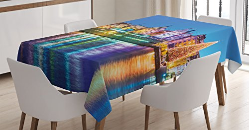 """Ambesonne Cityscape Tablecloth, Winter Scenery of Old Town Christmas Tree in Stockholm City Sweden Xmas Theme, Rectangular Table Cover for Dining Room Kitchen Decor, 60"""" X 90"""", Yellow Navy"""