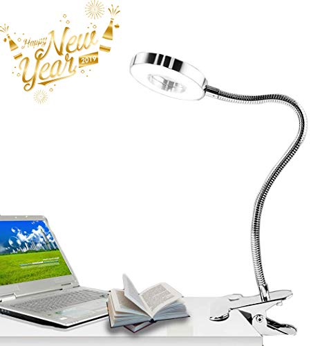 W-LITE 6W LED USB Dimmable Readi Clip Laptop Lamp for Book,Piano,Bed Headboard,Desk, Eye-Care 2 Light Color Switchable, Adapter Included, ()