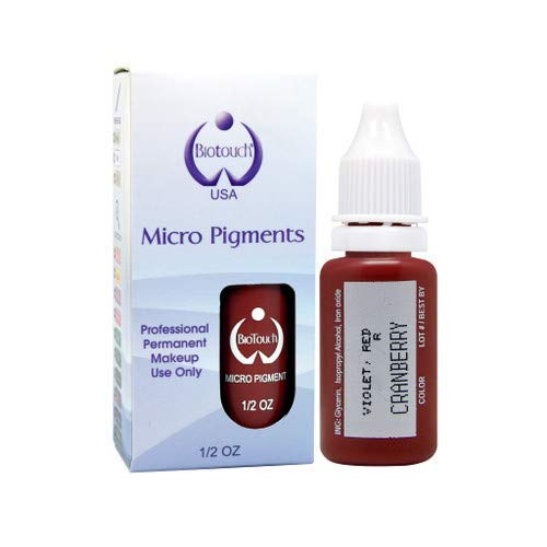BIOTOUCH Micropigment CRANBERRY Pigment Color Permanent Makeup Microblading Supplies Eyebrow Shading Micropigmentation Cosmetic Tattoo Ink Lip Eyeliner Ombre Feathering Hair Stroke LARGE Bottle 15ml