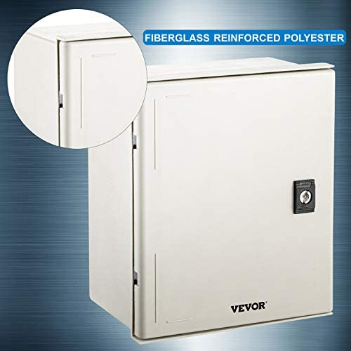 """VEVOR Fiberglass Enclosure 11.8 x 9.8 x 5.5"""" Electrical Enclosure Box NEMA 3X Electronic Equipment Enclosure Box IP65 Weatherproof Wall-Mounted Electrical Enclosure With Hinges & Quarter-Turn Latches     11.8 x 9.8 x 5.5"""" Fiberglass Electrical Enclosure Box The electrical box is molded from durable fiberglass reinforced polyester (FRP). With a sophisticated lock core, high-strength hinge, sealing rubber strip, and IP65 protection level to well-protect the internal electrical in harsh environments. It is ideal for protecting equipment from harsh environments and tampering. It is widely used for indoor and outdoor applications to protect circuits from liquids and corrosion, such as electricity, construction, hotel, and other industries.key Features Fiberglass Reinforced Polyester The electrical box features fiberglass reinforced polyester construction with high toughness, resistance to pressure, corrosion, and rust. The enclosure is impervious to dents. Thickened Dust Lock The inner lock core uses metal to prevent damage caused by excessive force. The durable and reliable cabinet door lock is applied for a convenient opening with longer service life. High Strength Hinge The electrical box adopts reinforced hinges, which will not be damaged if it is repeatedly opened and closed, and ensure that the box door is not easily broken by extrusion. Rubber Sealing Strip The sealing rubber strip is close to the box door with strong sealing performance to prevent dust and raindrops from dripping into the box and causing electricity leakage. IP 65 & Protective The IP65 waterproof design effectively blocks splashing water, rain, dust, snow, oil into the electrical enclosure and causing damage. It keeps your equipment well-protected in harsh environments."""