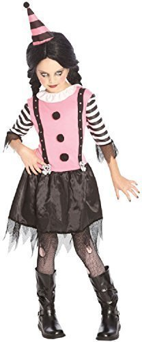 OIder & Teenage Girls Pink Killer Scary Zombie Clown Halloween Circus Fancy Dress Costume Outfit 7-14 Years (12-14 Years) ()