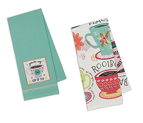 Embroidered Teacup - Design Imports DII Coordinating Embroidered and Printed Cotton Dishtowel Sets of 2 Tea Towels (Tea Cup)