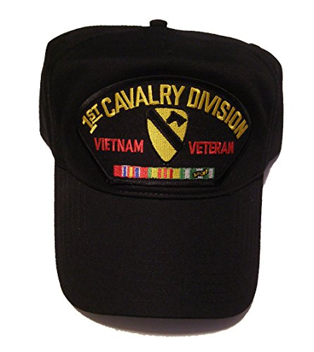 1ST CAVALRY DIVISION VIETNAM VETERAN HAT with ribbons 1st CAV crest cap - BLACK - Veteran Owned -
