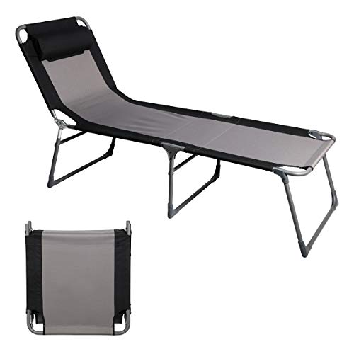(PPORTAL Folding Camping Cot Patio Beach Poolside Chaise Lounge Chair Bed Seat Height 15.75