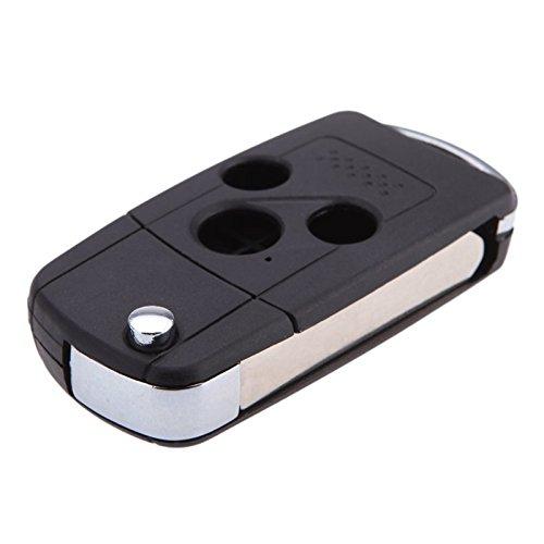 SODIAL R Entrada sin llave de reemplazo de 3 botones plegable del tiron Cubierta de llave Caja de llave Llavero Cascara de llave de coche remota para Honda Accord