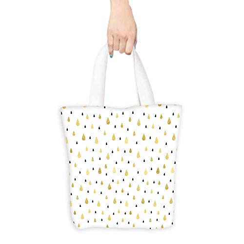 (Autumn Grocery Bag Golden Rain Drops Pattern Moisture Condensed From Atmosphere Artsy Print Foldable 16.5