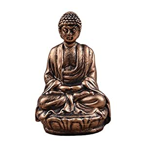 SUPVOX Resin Small Buddha Statue Crafts Desktop Ornaments Decoration for Home Office (Bronze)