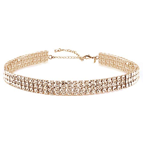 Daycindy Womens Clear Rhinestone Choker Necklace Gold Tone Adjustable