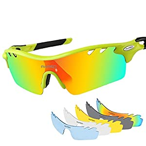 AKASO Men's Chameleon Multisport Polarized Sunglasses with 5 interchangeable lenses and 100% UV Protective Cycling Sunglasses (Yellow/Black)