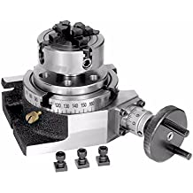 """New 4"""" Inches(100mm) Quality Rotary Table +70 mm 4 Jaw Chuck+ Back Plate+ Fixings"""