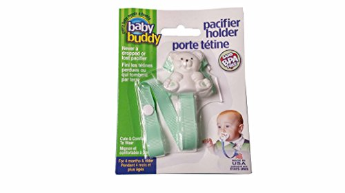 Baby Buddy Pacifier Holder, Clip Cute Bear to Baby's Shirt, (Green) Baby Buddy Pacifier Holder