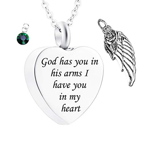 - God has You in his arms with Angel Wing Charm Cremation Ashes Jewelry Keepsake Memorial Urn Necklace with Birthstone Crystal (May)