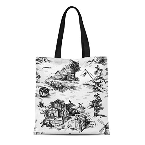 - Semtomn Cotton Canvas Tote Bag Classic Pattern Old Town Village Scenes of Fishing Reusable Shoulder Grocery Shopping Bags Handbag Printed