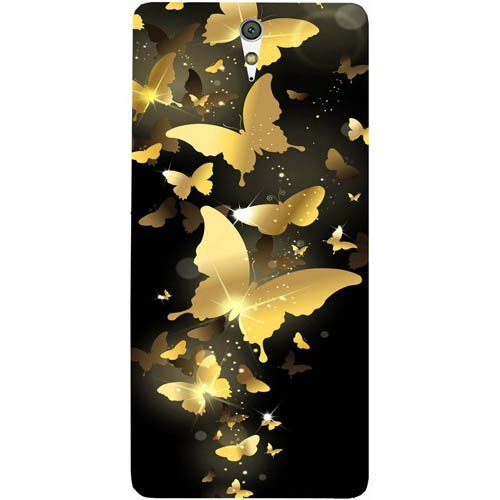 casotec golden butterfly pattern design hard back case cover for sony xperia c5 ultra dual   Gold