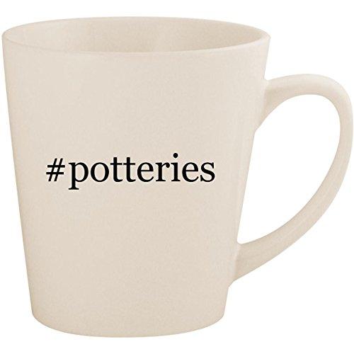 #potteries - White Hashtag 12oz Ceramic Latte Mug Cup ()