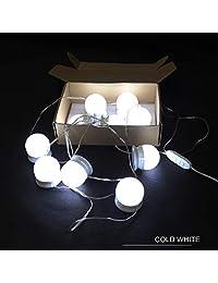 Kit de luces de espejo de Vanity regulables con 10 bombillas, estilo de Hong in Hollywood, 3 colores LED para tocador con fuente de alimentación USB enchufe de iluminación tira de fijación (no incluye espejo)