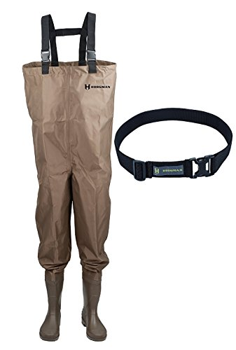 Hodgman Mackenzie Nylon and PVC Cleated Bootfoot Chest Fishing Waders (Brown- 7 with Wading Belt) by Hodgman