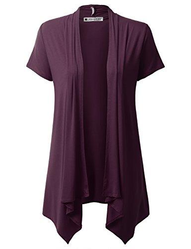 (URBANCLEO Womens Draped Open Front Short Sleeve Cardigan Plum Small)