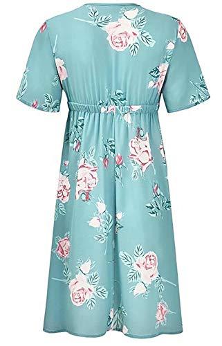 baf0da44f09 Women Maternity Retro Boho Floral Short Sleeve Mini Dress V Neck High Waist  Casual Short Dress