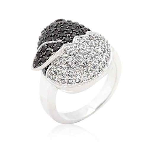 WildKlass Black and White Cubic Zirconia Baby Chick Ring - 18k Gold Electroplated Mens Ring