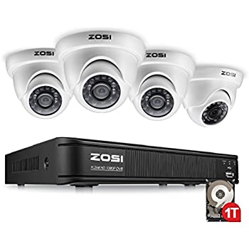 ZOSI 4 Channel HD-TVI 1080p CCTV Camera Security System,1080p 4-in-1 Surveillance DVR Recorder with 1TB HDD and (4) 2.0MP 1920TVL Outdoor/Indoor Day Night ...