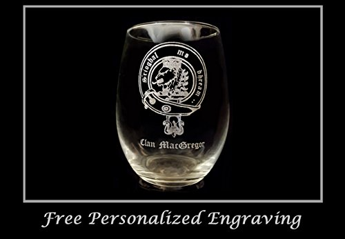 MacGregor Scottish Clan Crest Clear Stemless Wine Glass 18 oz - Free Personalized Engraving, Celtic Decor, Scottish Wedding (Scottish Clan Coat Arms)