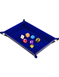 Folding Rectangle Double Sided Rolling Dice Tray and Bag Eco Friendly Pu Leather and Burgundy Tray Velvet Key Wallet Coin Box and Other Dice Game Accessories (Blue)
