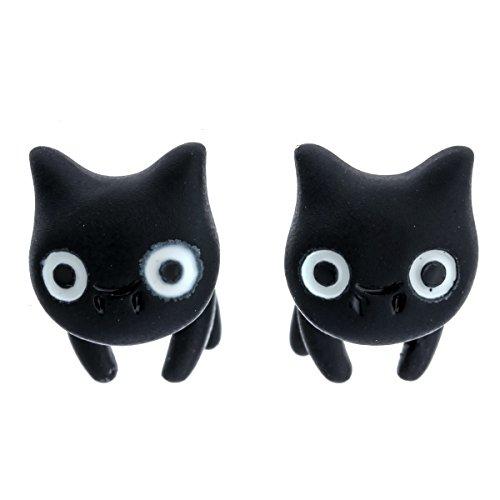 Szxc Jewelry Women's Halloween Black Cat Front And Back Stud Earring