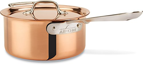Clad All Cookware Set Aluminum Anodized (All-Clad CD203 C2 COPPER CLAD Sauce Pan with Lid with Bonded Copper Exterior Cookware, 3-Quart, Copper)