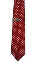 John Ashford Men's Dotted Necktie with Christmas Tie Clip Set (Red - Santa Clip)