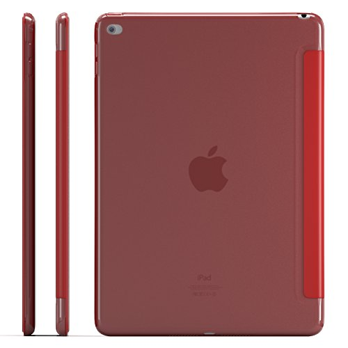 Zeox iPad Air 2 Case (2014 release) - Slim Ultra Lightweight Stand Smart Protective Cover with Transparent Anti Fingerprint Back Protector & Auto Sleep / Wake Feature for Apple iPad Air 2 - Red by ZEOX (Image #5)