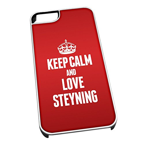 Bianco cover per iPhone 5/5S 0614 Red Keep Calm and Love Steyning