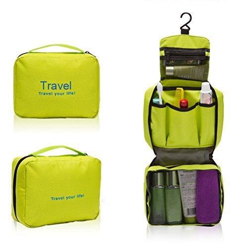 a-goo portátil multifunción impermeable colgante lavado bolsa neceser de viaje neceser bolsa organizador (verde)