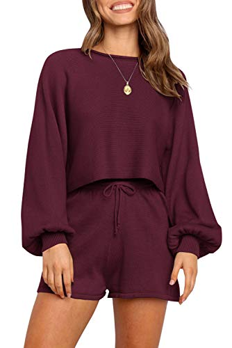 ZESICA Women's Casual Long Sleeve Solid Color Knit Pullover Sweatsuit 2 Piece Short Sweater Outfits Sets