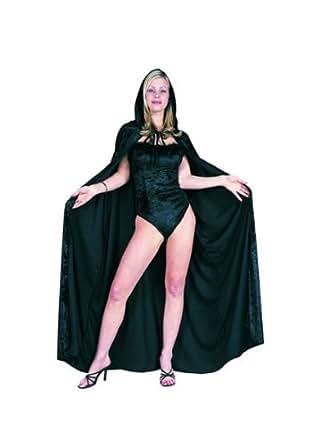56 Inch Hooded Cape - Velvet (Black;One Size)