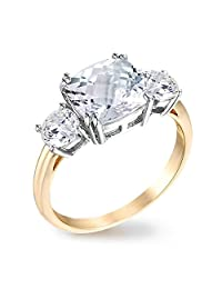 Samie Collection 3.67ctw Cushion CZ 3 Stone Royal Wedding Princess Engagement Ring in 14K Gold Plating