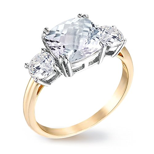 Samie Collection Royal Engagement Ring Inspired Princess Meghan Markle's Wedding 3.67ctw CZ in Genuine Gold Plating by Samie Collection