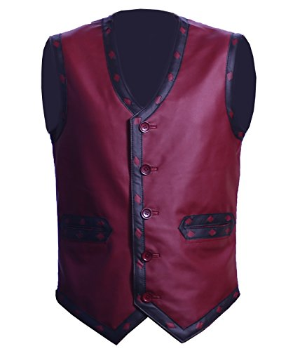Mens Designer Embroided Maroon Biker Fashion Leather Vest Halloween Costume Men's Leather Vest◄ (Small)