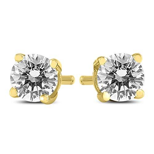 1/4-3/4 Carat TW Round Diamond Solitaire Stud Earrings