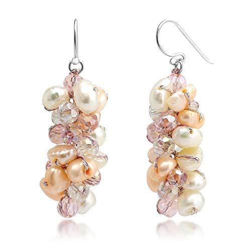 Genuine Pink and White Cultured Freshwater Pearl Cluster Bead Crystal Dangle Hook Earrings ()