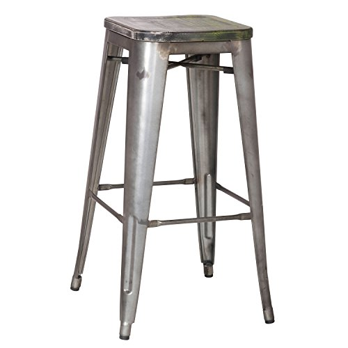 Silver Retro Play Kitchen (2016 NEW 30-inch Metal Counter Bar Stools, Vintage Retro Barstool, Distressed Steel, Wooden Seat (SET OF TWO))