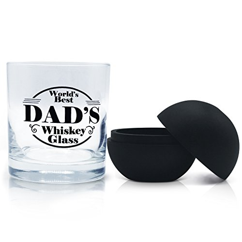 World' s Best Dad's Whiskey Rocks Glass - Premium 11 oz Scotch, Bourbon, Old Fashioned Cocktail Tumbler with Large Round Ice Mold. Perfect Father's Day Gift & Present for Dad. by Beer City Glass