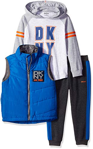 DKNY Boys' Little North View Avenue Puffer Vest, Hoodie and Fleece Jog Pant, Medium Heather, ()